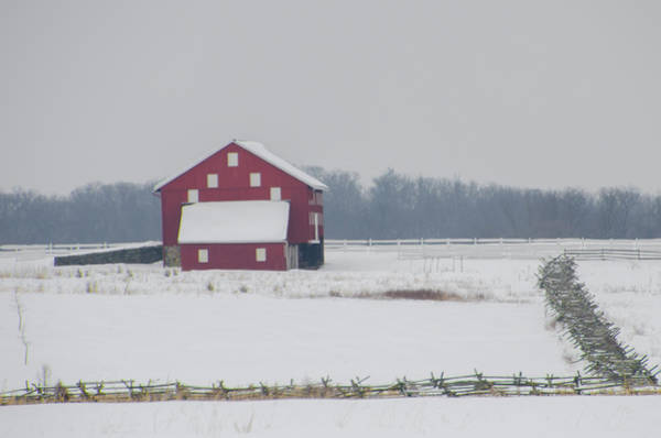 Photograph - Red Barn At Gettysburg On A Snow Day by Bill Cannon