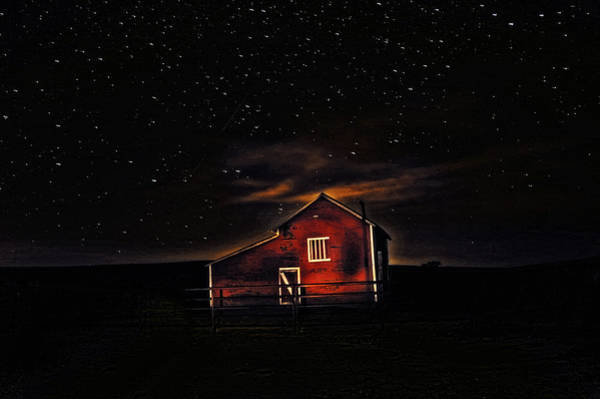 Photograph - Red Barn At Midnight by Amanda Smith