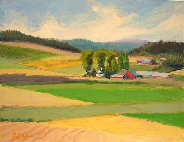 Wall Art - Painting - Red Barn Farm by Sylvia Carlton