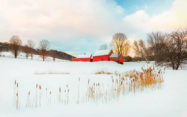 Photograph - Quechee Red Barn Farm Winter  by John Vose