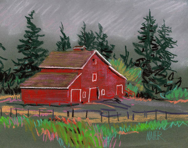 Barn Drawing - Red Barn In La Honda by Donald Maier