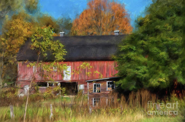 Photograph - Red Barn In October by Lois Bryan