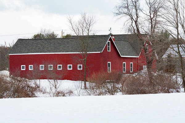 Photograph - Red Barn In Snow by Brian MacLean