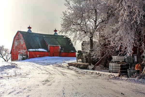 Photograph - Red Barn In Snow  by David Matthews