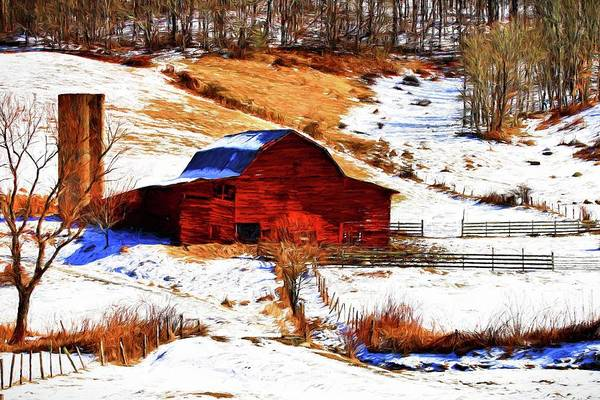 Photograph - Red Barn In Snow Painted by Carol Montoya