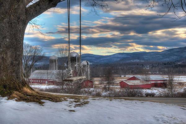 Photograph - Red Barn In Snow - Vermont Farm Scene by Joann Vitali