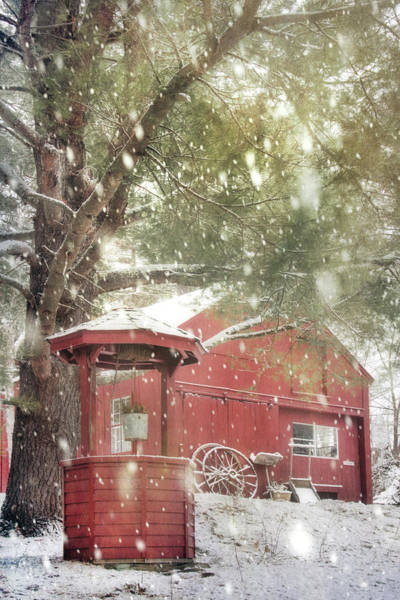 Photograph - Red Barn In Winter - Wilton, New Hampshire by Joann Vitali