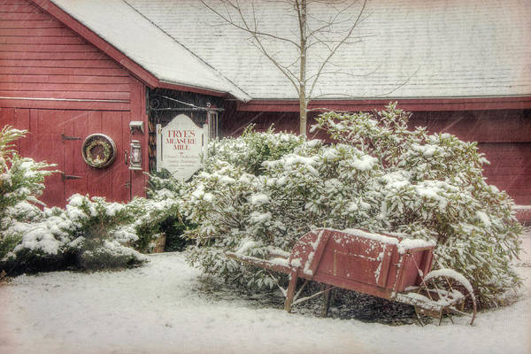 Photograph - Red Barn In Snow - Wilton, Nh by Joann Vitali