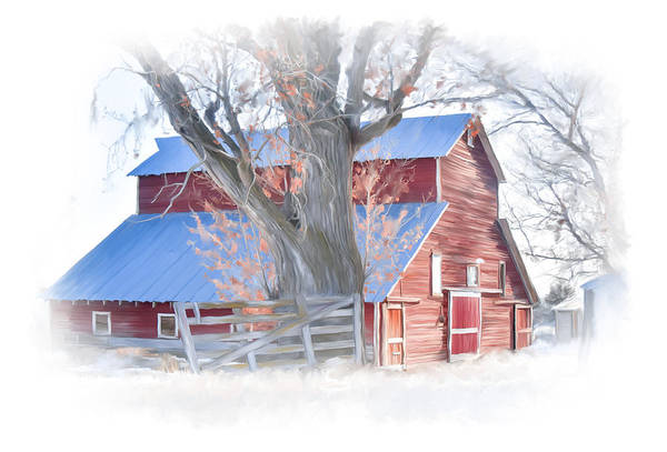 Digital Art - Red Barn On York Drive by Ramona Murdock