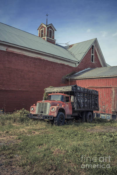 Wall Art - Photograph - Red Barn Red Truck by Edward Fielding