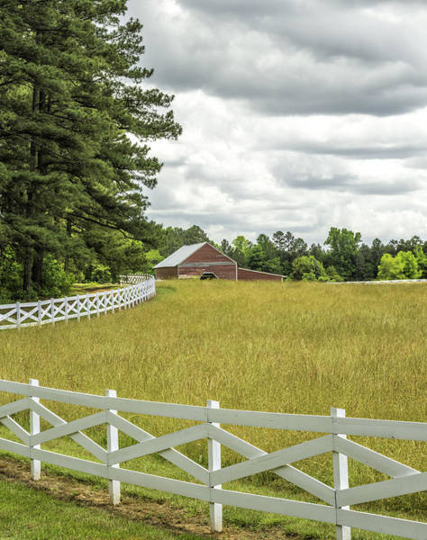 Photograph - Red Barn White Fence Panorama 03 by Jim Dollar