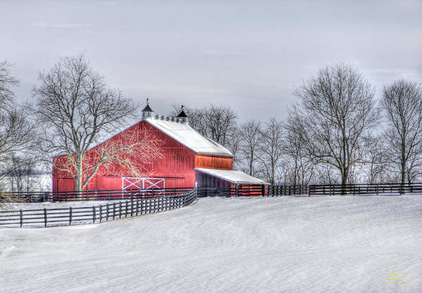 Photograph - Red Barn Winter by Sam Davis Johnson