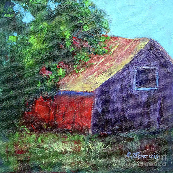 Painting - Red Barn With Green Tree by Carolyn Jarvis