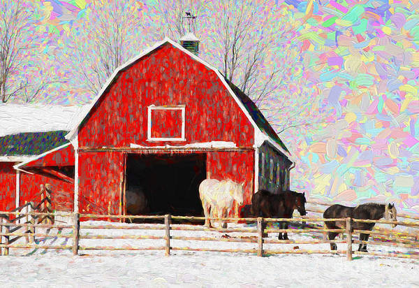 Photograph - Red Barn With Horses - V3 by Les Palenik