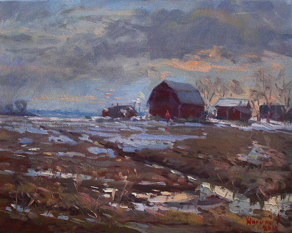 Wall Art - Painting - Red Barns In The Farm by Ylli Haruni
