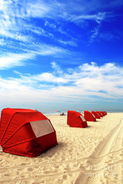 Photograph - Red Beach Tents At Cape May by John Rizzuto