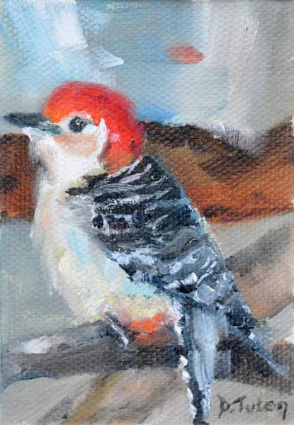 Painting - Red-headed Woodpecker by Donna Tuten