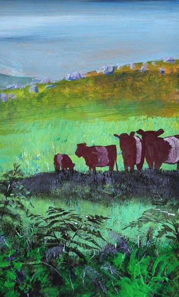 Painting - Red Belted Galloway Cows by Mike Jory