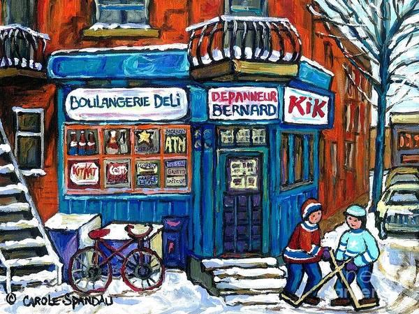 Boys Playing Hockey Painting - Red Bike At Boulangerie Bernard Street Hockey Paintings Best Canadian Winter Scene Art by Carole Spandau