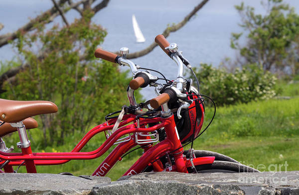 Photograph - Red Bikes At Ft. Williams Park, Cape Elizabeth, Maine  -86201 by John Bald