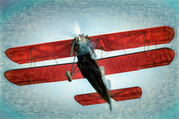 Radial Engine Photograph - Red Biplane by James Barber