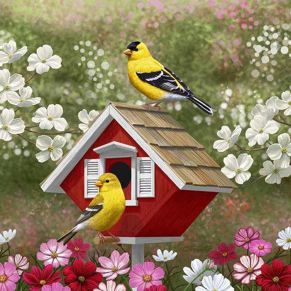 Dogwood Painting - Red Birdhouse And Goldfinches by Crista Forest