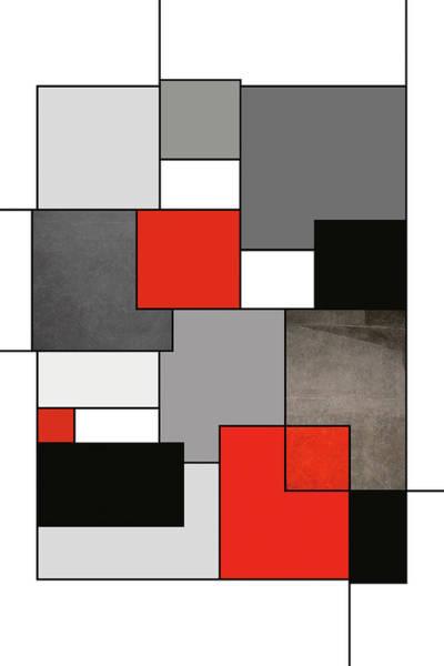 Aspect Digital Art - Red, Black And Gray Modern Geometric Shapes Art,  by Aga Szafranska
