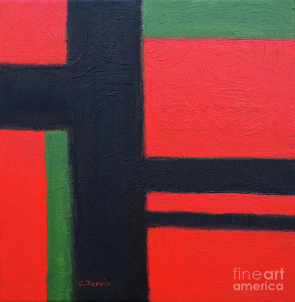 Painting - Red, Black And Green Rectangles by Carolyn Jarvis
