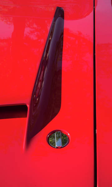 Photograph - Red Black And Shapes On Hot Rod Hood by Gary Slawsky