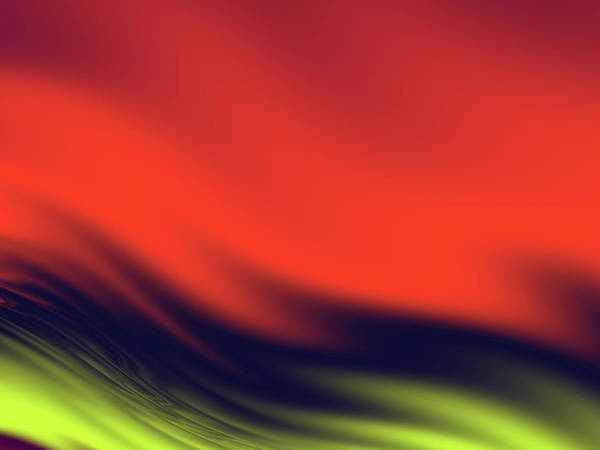 Wall Art - Digital Art - Red, Black And Yellow Waves by Rich Leighton