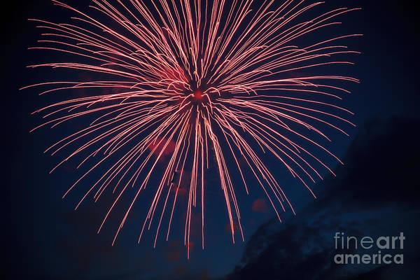 Fireworks Show Wall Art - Photograph - Red Blast by Robert Bales