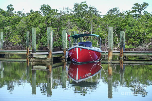 Wall Art - Photograph - Red Boat Docked Florida by Edward Fielding