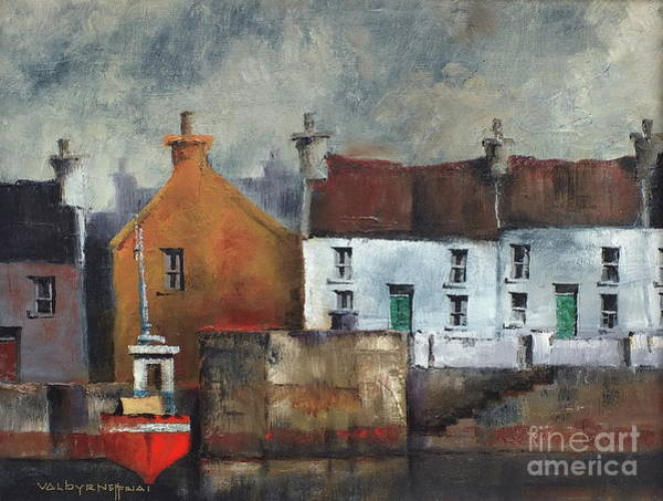 Painting - Red Boat In Aran by Val Byrne