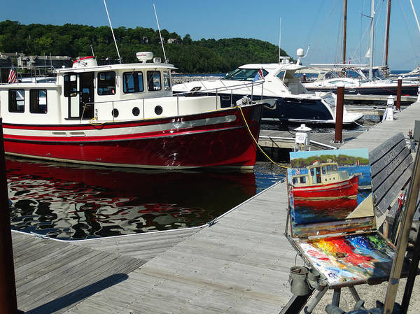Plein Air Photograph - Red Boat Times Two by David T Wilkinson