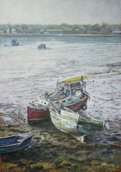 Painting - Red Boat Wreck Southampton by Martin Davey