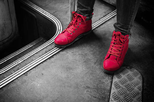 Photograph - Red Boots On A Bus by John Williams