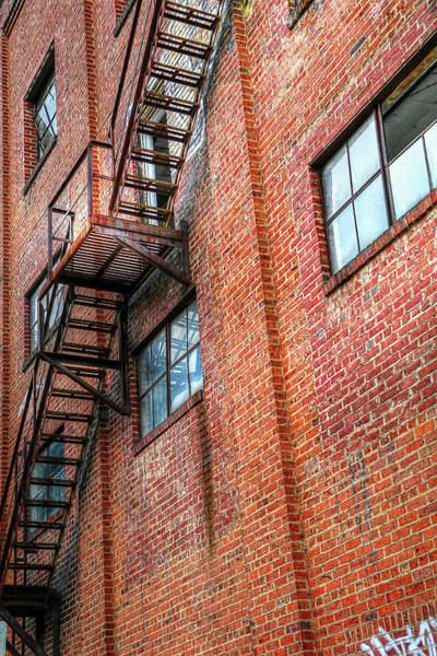 Photograph - Red Brick Building And Fire Escape by Carol Montoya