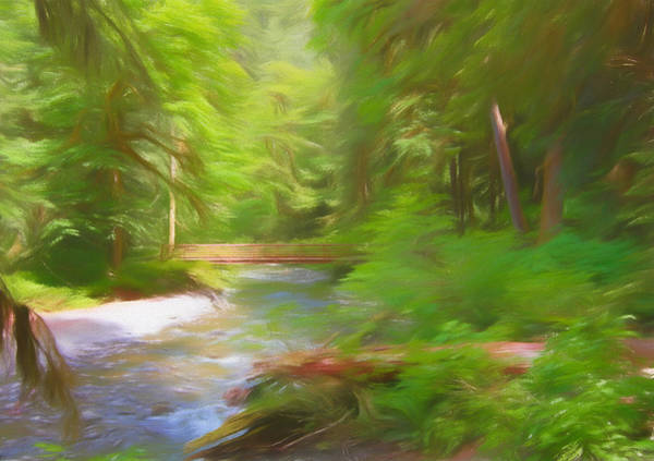 Mount Rainier Painting - Red Bridge In Green Forest by Dan Sproul