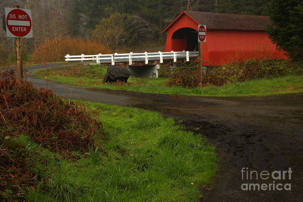Photograph - Red Bridge On A Dreary Day by Adam Jewell