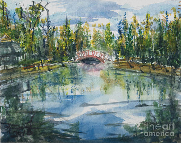 Painting - Red Bridge On Lake In The Ozarks by Reed Novotny