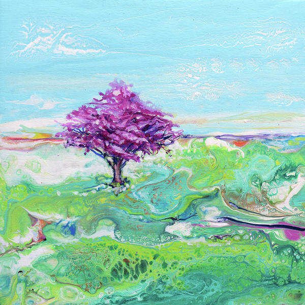 Wall Art - Painting - Red Bud Tree By Land Or Sea 2 by Susan Card