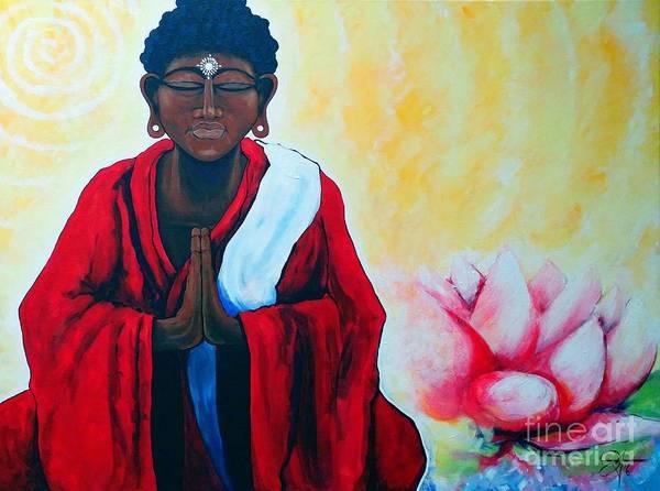 Chinese Buddha Painting - Red Buddha Lotus Spiritual Jackie Carpenter by Jackie Carpenter