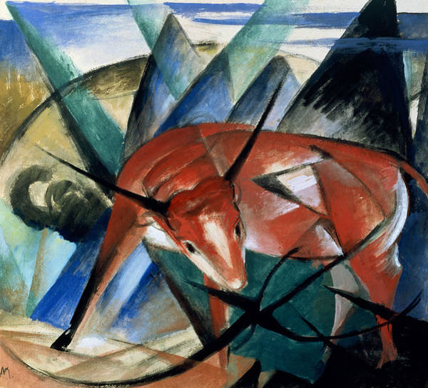 The Blue Rider Wall Art - Painting - Red Bull by Franz Marc