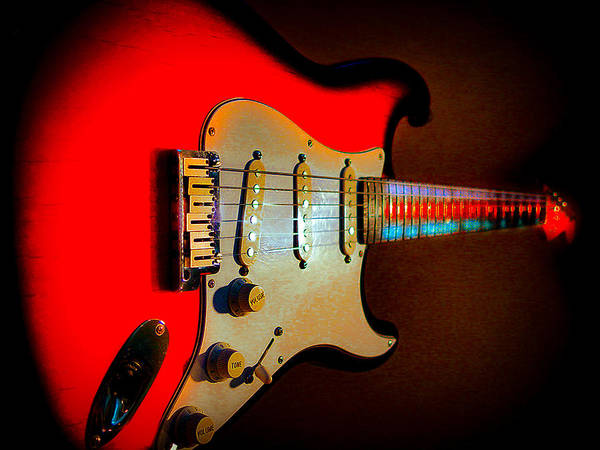 Digital Art - Red Burst Stratocaster Glow Neck Series by Guitar Wacky