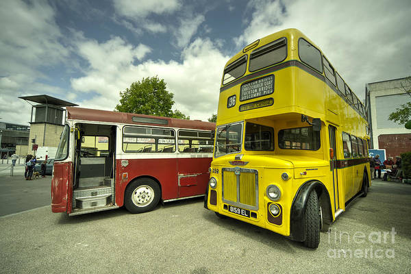 Wall Art - Photograph - Red Bus Yellow Bus  by Rob Hawkins
