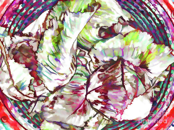 Cabbage White Painting - Red Cabbage In Basket by Jeelan Clark