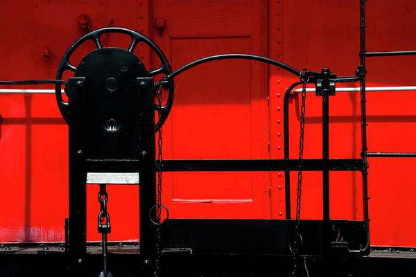 Wall Art - Photograph - Red Caboose - Black Brake Wheel by Paul W Faust - Impressions of Light