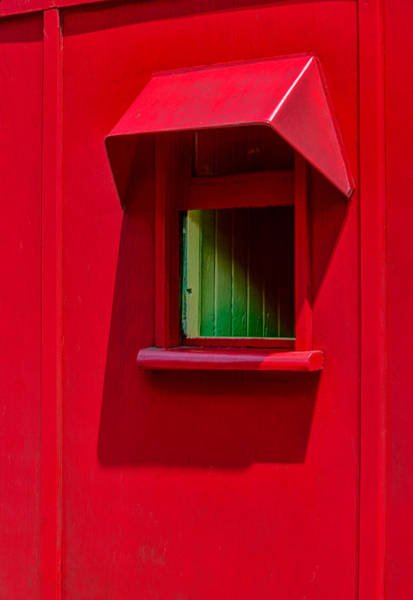 Red Caboose Window In Shade Art Print