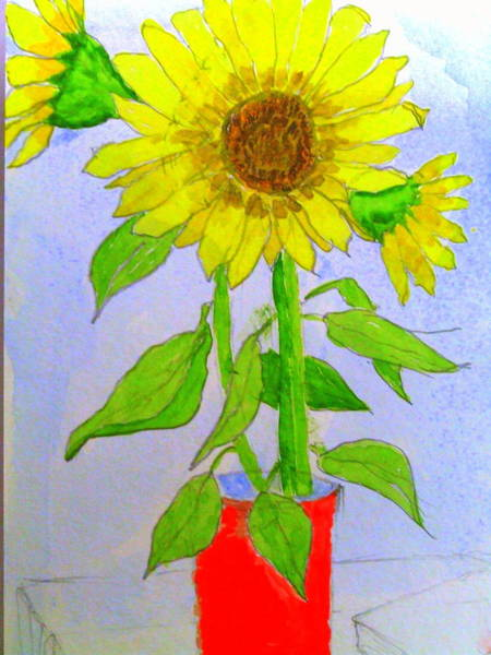James Johnson Painting - Red Can With Sunflowers by James Johnson