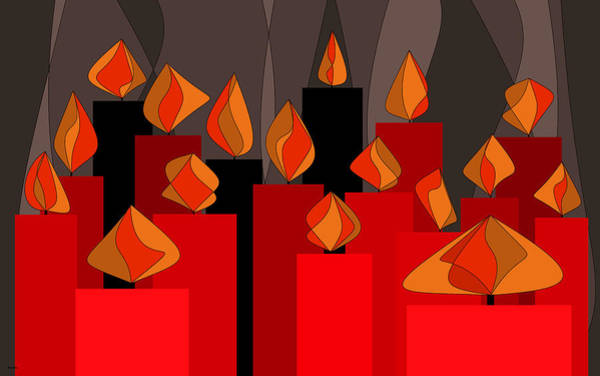 Digital Art - Red Candles With Orange Flames by Val Arie